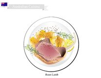 Grillade lammben, den populära maträtten av Australien royaltyfri illustrationer