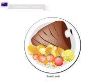 Grillade lammben, den populära maträtten av Australien vektor illustrationer