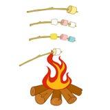 Grillade marshmallower Royaltyfria Foton
