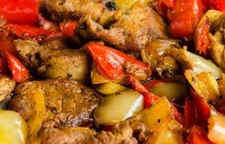Grillade meat och peppar Arkivbild