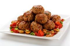 Grillade meatballs Fotografering för Bildbyråer