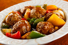 grillade meatballs Royaltyfria Bilder
