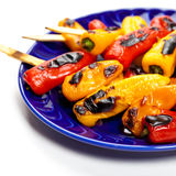 Grillade Mini Sweet Peppers royaltyfri bild