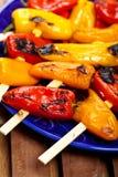 Grillade Mini Sweet Peppers royaltyfri bild