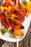 Grillade Mini Sweet Peppers fotografering för bildbyråer