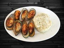 grillade musslor Royaltyfria Foton
