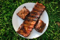 Grillade och rökte grisköttstöd på en vit platta fotografering för bildbyråer