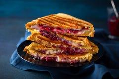 Grillade ost- och tranbärsmörgåsar Arkivfoton