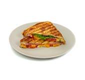 Grillade paninismörgåsar på plattan. Arkivbilder