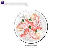 Grillade räkor, en stor traditionell australisk maträtt stock illustrationer