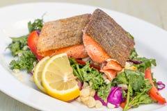 Grillade Salmon Dish Royaltyfria Bilder