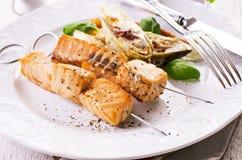 Grillade Salmon Skewer Royaltyfri Foto