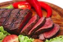 grillade steakgrönsaker för nötkött meat Arkivbild