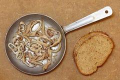 Grillade tioarmad bläckfiskstycken i stekpanna och bröd Top beskådar Royaltyfria Foton