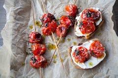 grillade tomater Arkivbilder