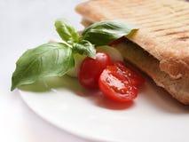 grillade tomater för mozzarellapaninismörgås arkivbilder