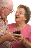 Grillage aîné heureux de couples Photos stock