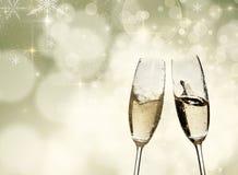 Grillage avec des verres de champagne image libre de droits