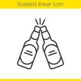 Grillage de l'icône linéaire de bouteilles à bière illustration stock