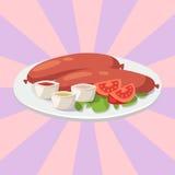 Grillar torkade korvar för rök med mål för griskött för lunch för kokkonst för matställen för ketchupmaträttkött läckert vektoril royaltyfri illustrationer