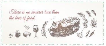 Grillat dia svin med smaktillsats och grönsaker vektor illustrationer