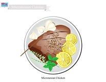 Grillat fegt bröst, den populära maträtten av Mikronesien vektor illustrationer