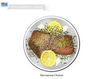 Grillat fegt bröst, den populära maträtten av Mikronesien stock illustrationer