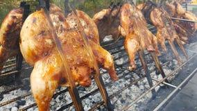 Grillat fegt med järnförberedelser på järngallerröken mycket, mat i Thailand Royaltyfri Fotografi