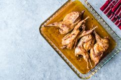 Grillat frasigt vaktelkött i exponeringsglasbunke/Fried Small Chickens fotografering för bildbyråer