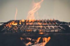 Grillat grillfestgaller/galler för att grilla på kol på det utomhus- royaltyfri bild