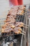 Grillat griskött är den thai frukosten Royaltyfri Bild