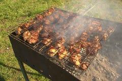 Grillat kött i processen av att laga mat royaltyfria bilder