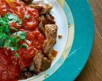 Grillat kött med chilisås Arkivfoto