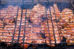 Grillat kött på galler Royaltyfri Foto