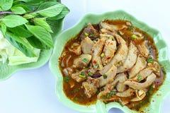 grillat kryddigt thai för porksallad Fotografering för Bildbyråer