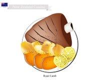 Grillat lamm, den populära maträtten av Nya Zeeland stock illustrationer