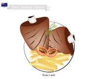 Grillat lamm, den populära maträtten av Nya Zeeland vektor illustrationer