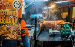 Grillat lamm i Alor Setar, Malaysia Arkivfoto