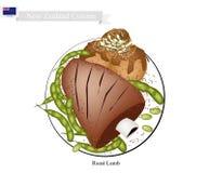 Grillat lamm med köttbollar, maträtt av Nya Zeeland stock illustrationer