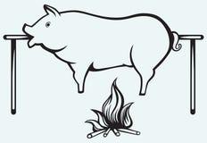 Grillat svin stock illustrationer