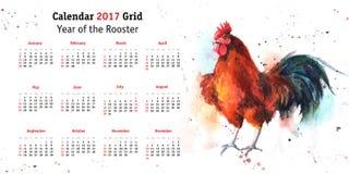 Grille 2017 de calendrier avec le coq tiré par la main d'aquarelle Photos stock