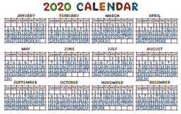Grille de calendrier pour 2020, moulée de la pâte à modeler photo stock