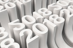Grille de nouveaux chiffres blancs de 2018 ans Photo stock