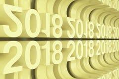 Grille de nouveaux chiffres jaunes de 2018 ans Photographie stock libre de droits