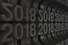 Grille de nouveaux chiffres noirs de 2018 ans Photo libre de droits