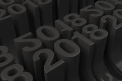 Grille de nouveaux chiffres noirs de 2018 ans Image stock