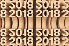 Grille de nouveaux chiffres oranges de 2018 ans Images stock