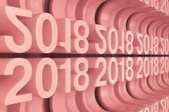 Grille de nouveaux chiffres rouges de 2018 ans Image libre de droits