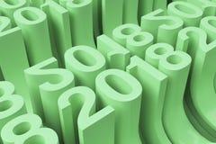 Grille de nouveaux chiffres verts de 2018 ans Photo stock