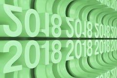 Grille de nouveaux chiffres verts de 2018 ans Images libres de droits